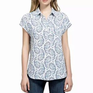 Pleione Popover Blouse L French Blue Paisley